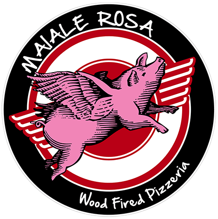 Logo for Maiale Rosa, Beaverton wood-fired pizzeria.