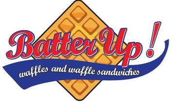 Logo for Batter Up, Beaverton eatery specializing in waffles and waffle sandwiches.
