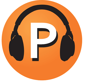 An image of the letter P with headphones for the podcast.