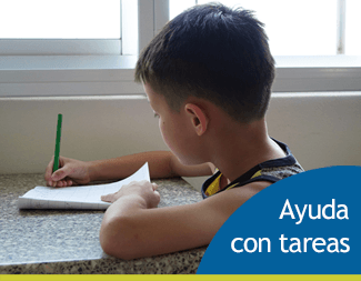 Image of a boy working on homework