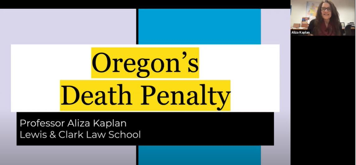 Snapshot of Death Penalty in Oregon event recording Opens in new window